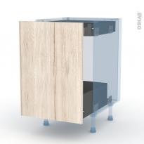 IKORO Chêne Clair - Kit Rénovation 18 - Meuble bas coulissant  - 1 porte -1 tiroir anglaise - L50xH70xP60