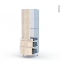 IKORO Chêne Clair - Kit Rénovation 18 - Armoire étagère N°2758  - 3 tiroirs casserolier - L60xH195xP60