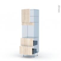 IKORO Chêne Clair - Kit Rénovation 18 - Colonne Four N°1657  - 1 porte 2 casseroliers - L60xH195xP60