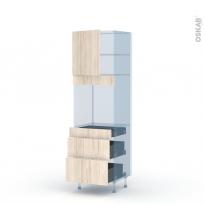 IKORO Chêne Clair - Kit Rénovation 18 - Colonne Four N°1658  - 1 porte 3 tiroirs - L60xH195xP60