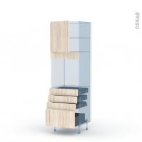 IKORO Chêne Clair - Kit Rénovation 18 - Colonne Four N°1659  - 1 porte 4 tiroirs - L60xH195xP60