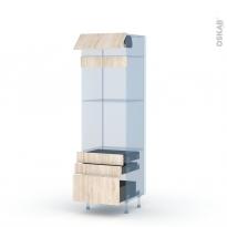 IKORO Chêne Clair - Kit Rénovation 18 - Colonne Four+MO 45 N°559  - 1 abattant 3 tiroirs - L60xH195xP60
