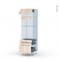 IKORO Chêne Clair - Kit Rénovation 18 - Colonne Four+MO 36/38 N°1059  - 1 abattant 3 tiroirs - L60xH195xP60