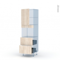 IKORO Chêne Clair - Kit Rénovation 18 - Colonne Four niche 45 N°2157  - 1 porte 2 casseroliers - L60xH195xP60