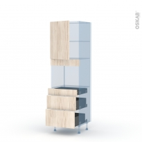 IKORO Chêne Clair - Kit Rénovation 18 - Colonne Four niche 45 N°2158  - 1 porte 3 tiroirs - L60xH195xP60