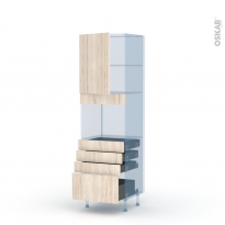 IKORO Chêne Clair - Kit Rénovation 18 - Colonne Four niche 45 N°2159  - 1 porte 4 tiroirs - L60xH195xP60