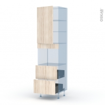 IKORO Chêne Clair - Kit Rénovation 18 - Colonne Four niche 45 N°2457  - 1 porte 2 casseroliers - L60xH217xP60