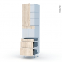 IKORO Chêne Clair - Kit Rénovation 18 - Colonne Four niche 45 N°2458  - 1 porte 3 tiroirs - L60xH217xP60