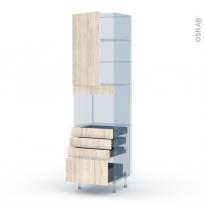 IKORO Chêne Clair - Kit Rénovation 18 - Colonne Four niche 45 N°2459  - 1 porte 4 tiroirs - L60xH217xP60