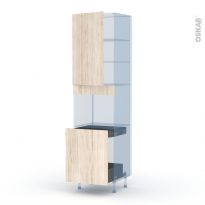 IKORO Chêne Clair - Kit Rénovation 18 - Colonne Four N°2416 - 1 porte -1 porte coulissante - L60xH217xP60