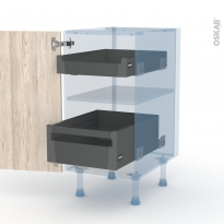 IKORO Chêne Clair - Kit Rénovation 18 - Meuble bas - 2 tiroirs à l'anglaise - L40xH70xP60