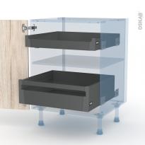 IKORO Chêne Clair - Kit Rénovation 18 - Meuble bas - 2 tiroirs à l'anglaise - L60xH70xP60