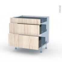IKORO Chêne Clair - Kit Rénovation 18 - Meuble casserolier - 3 tiroirs - L80xH70xP60