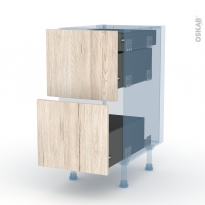 IKORO Chêne Clair - Kit Rénovation 18 - Meuble casserolier - 2 tiroirs-1 tiroir anglaise - L40xH70xP60