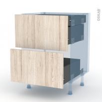 IKORO Chêne Clair - Kit Rénovation 18 - Meuble casserolier - 2 tiroirs-1 tiroir anglaise - L60xH70xP60