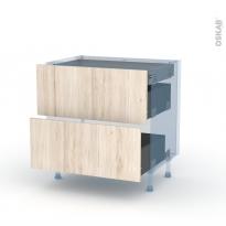 IKORO Chêne Clair - Kit Rénovation 18 - Meuble casserolier - 2 tiroirs - 1 tiroir anglaise - L80xH70xP60