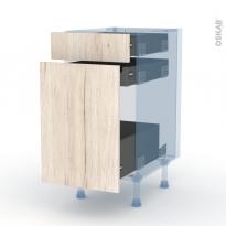 IKORO Chêne Clair - Kit Rénovation 18 - Meuble range épice - 3 tiroirs - L40xH70xP60
