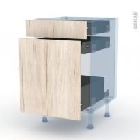 IKORO Chêne Clair - Kit Rénovation 18 - Meuble range épice - 3 tiroirs - L50xH70xP60