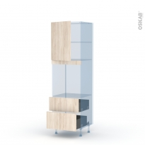 IKORO Chêne Clair - Kit Rénovation 18 - Colonne Four niche 60 N°2158 - 1 porte 2 casseroliers - L60xH195xP60