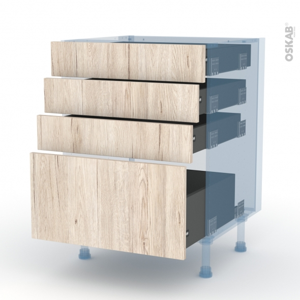IKORO Chêne Clair - Kit Rénovation 18 - Meuble casserolier  - 4 tiroirs - L60xH70xP60