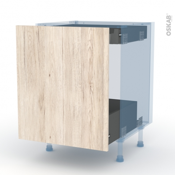 IKORO Chêne Clair - Kit Rénovation 18 - Meuble bas coulissant  - 1 porte -1 tiroir anglaise - L60xH70xP60