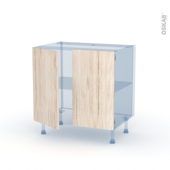 IKORO Chêne Clair - Kit Rénovation 18 - Meuble sous-évier  - 2 portes - L80xH70xP60