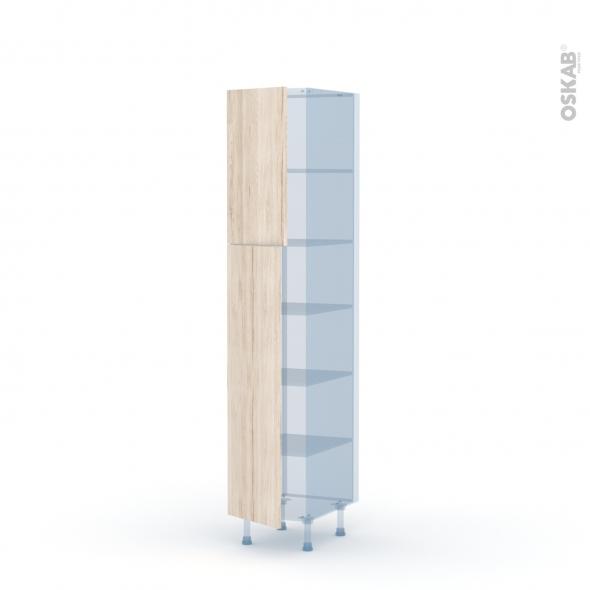 IKORO Chêne Clair - Kit Rénovation 18 - Armoire étagère N°1926  - 2 portes - L40xH195xP60
