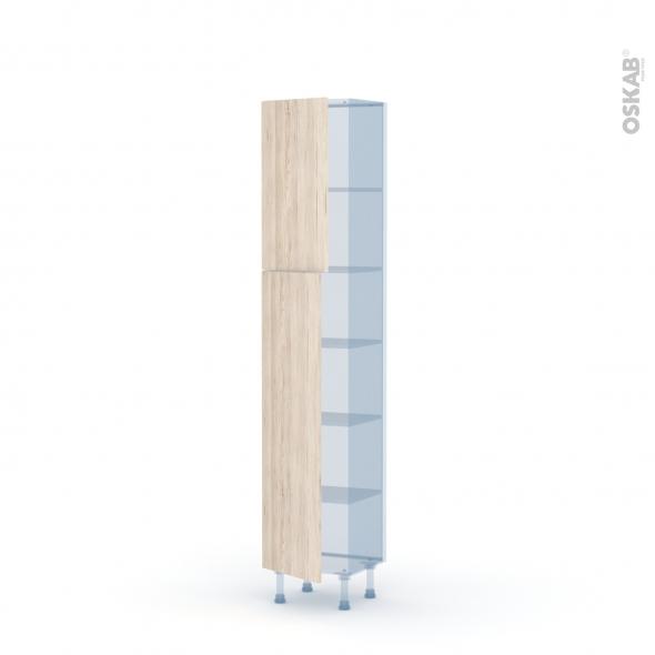 IKORO Chêne Clair - Kit Rénovation 18 - Armoire étagère N°1926   - Prof.37  2 portes - L40xH195xP37,5