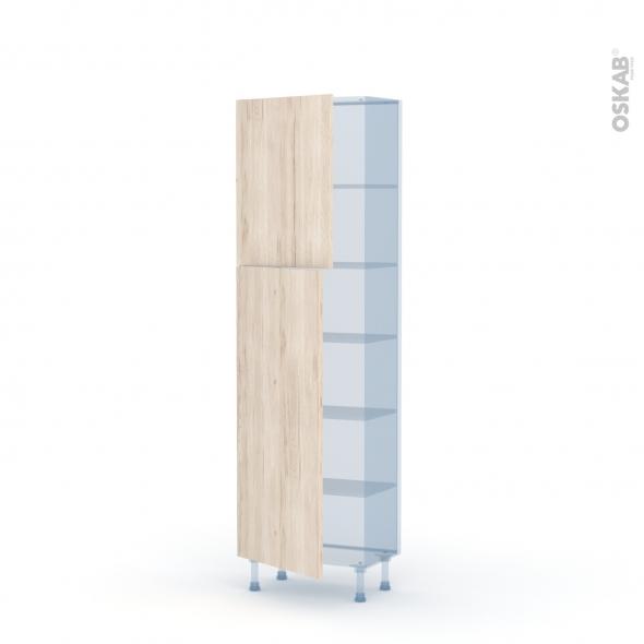 IKORO Chêne Clair - Kit Rénovation 18 - Armoire étagère N°2127   - Prof.37  2 portes - L60xH195xP37,5