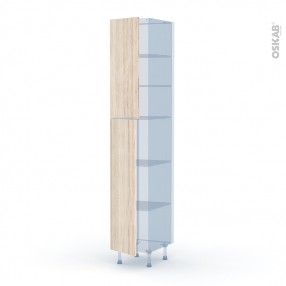 IKORO Chêne Clair - Kit Rénovation 18 - Armoire étagère N°2326  - 2 portes - L40xH217xP60