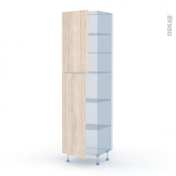 IKORO Chêne Clair - Kit Rénovation 18 - Armoire étagère N°2427  - 2 portes - L60xH217xP60