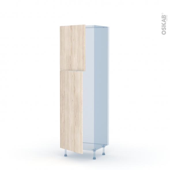 IKORO Chêne Clair - Kit Rénovation 18 - Armoire frigo N°2721  - 2 portes - L60xH195xP60