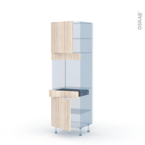 IKORO Chêne Clair - Kit Rénovation 18 - Colonne Four N°1616  - 2 portes 1 tiroir - L60xH195xP60