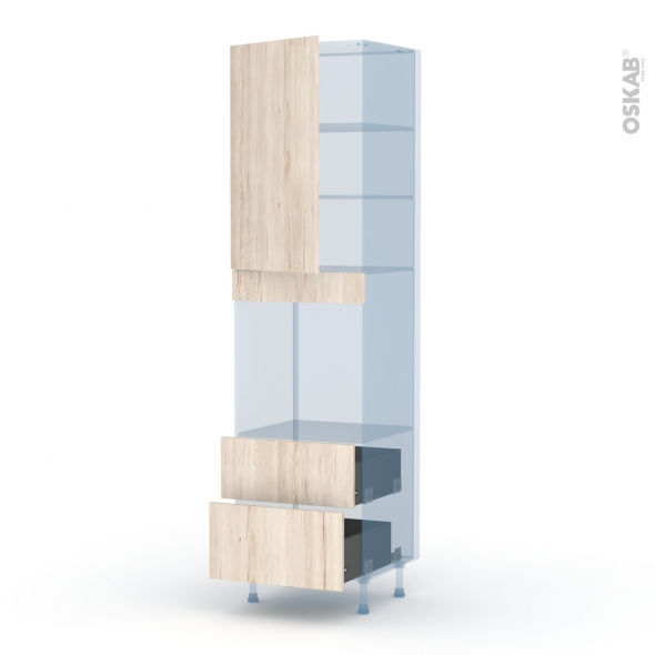 IKORO Chêne Clair - Kit Rénovation 18 - Colonne Four N°2458  - 1 porte 2 casseroliers - L60xH217xP60