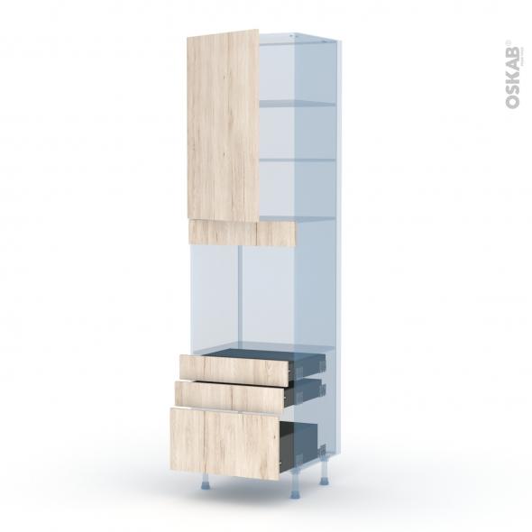 IKORO Chêne Clair - Kit Rénovation 18 - Colonne Four N°2459  - 1 porte 3 tiroirs - L60xH217xP60