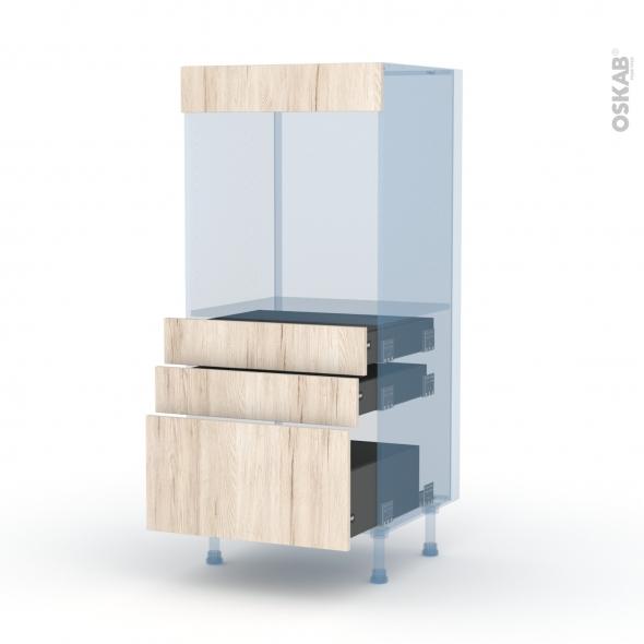 IKORO Chêne Clair - Kit Rénovation 18 - Colonne Four N°59  - 3 tiroirs - L60xH125xP60