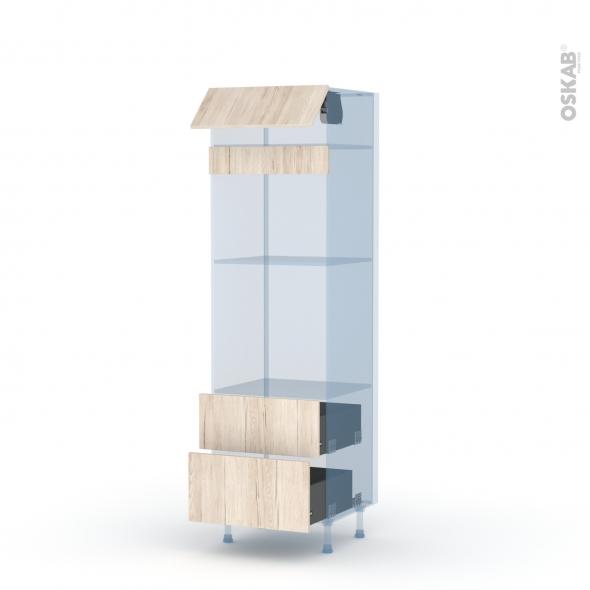 IKORO Chêne Clair - Kit Rénovation 18 - Colonne Four+MO 45 N°558  - 1 abattant 2 casseroliers - L60xH195xP60