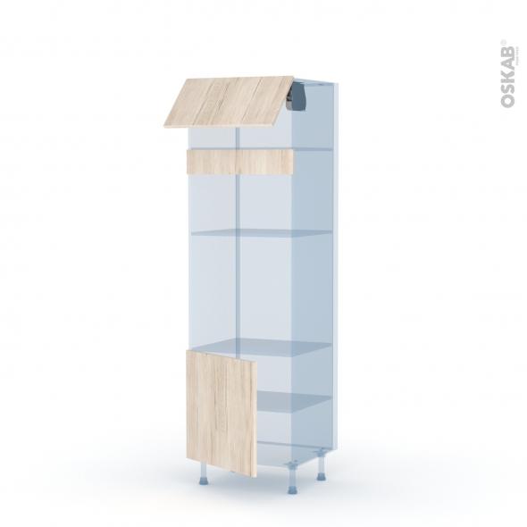 IKORO Chêne Clair - Kit Rénovation 18 - Colonne Four+MO 36/38 N°1016  - 1 abattant 1 porte - L60xH195xP60
