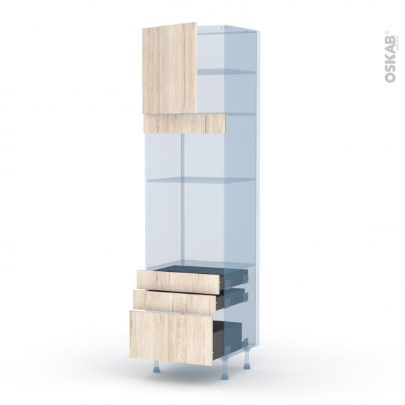 IKORO Chêne Clair - Kit Rénovation 18 - Colonne Four+MO 36/38 N°1659  - 1 porte 3 tiroirs - L60xH217xP60