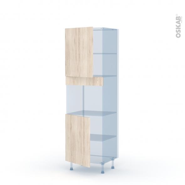 IKORO Chêne Clair - Kit Rénovation 18 - Colonne Four niche 45 N°2121  - 2 portes - L60xH195xP60