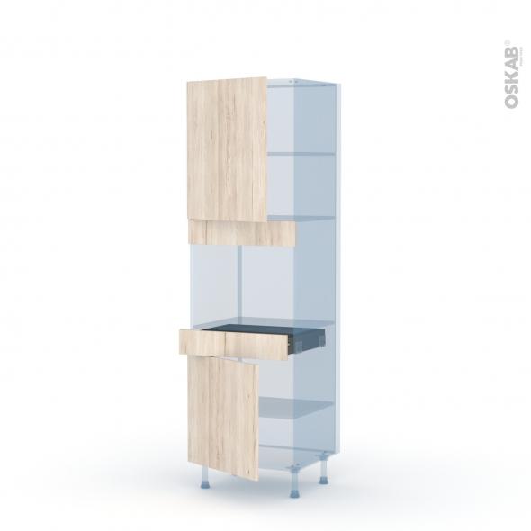 IKORO Chêne Clair - Kit Rénovation 18 - Colonne Four niche 45 N°2156  - 2 portes 1 tiroir - L60xH195xP60