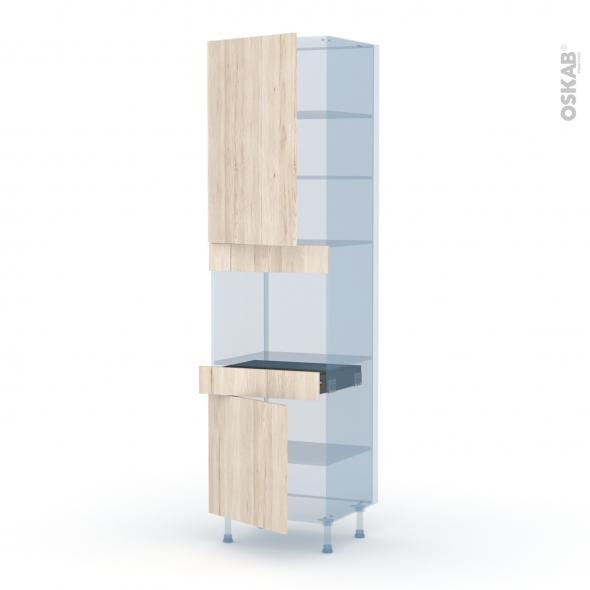 IKORO Chêne Clair - Kit Rénovation 18 - Colonne Four niche 45 N°2456  - 2 portes 1 tiroir - L60xH217xP60