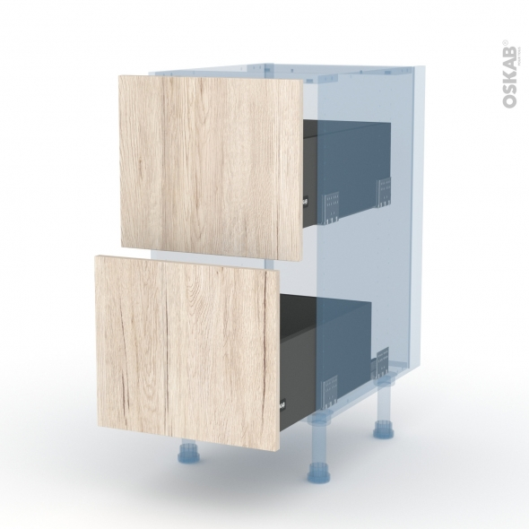 IKORO Chêne Clair - Kit Rénovation 18 - Meuble casserolier  - 2 tiroirs - L40xH70xP60
