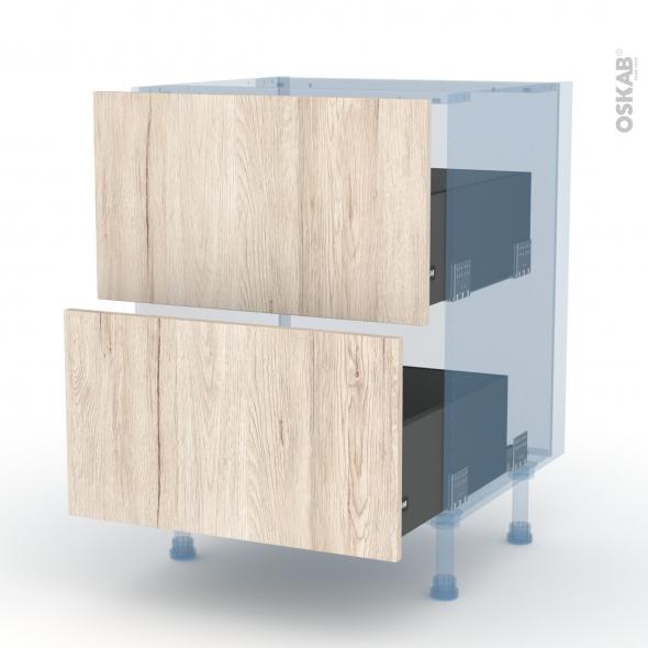 IKORO Chêne Clair - Kit Rénovation 18 - Meuble casserolier  - 2 tiroirs - L60xH70xP60