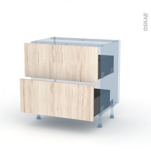 IKORO Chêne Clair - Kit Rénovation 18 - Meuble casserolier  - 2 tiroirs - L80xH70xP60