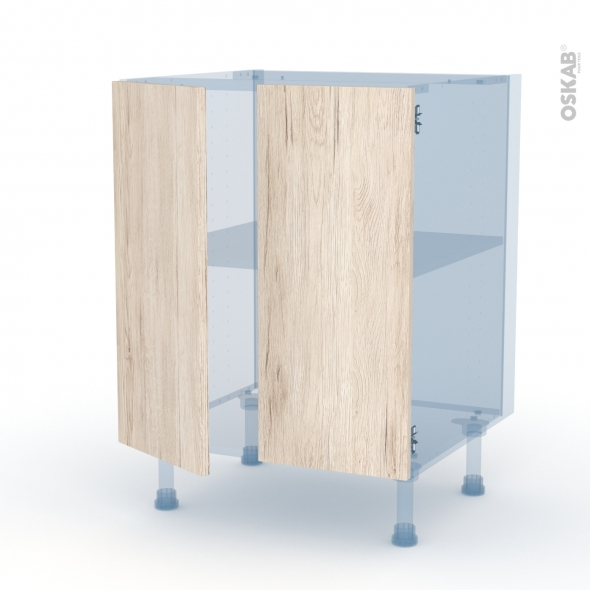 IKORO Chêne Clair - Kit Rénovation 18 - Meuble bas cuisine - 2 portes - L60xH70xP60