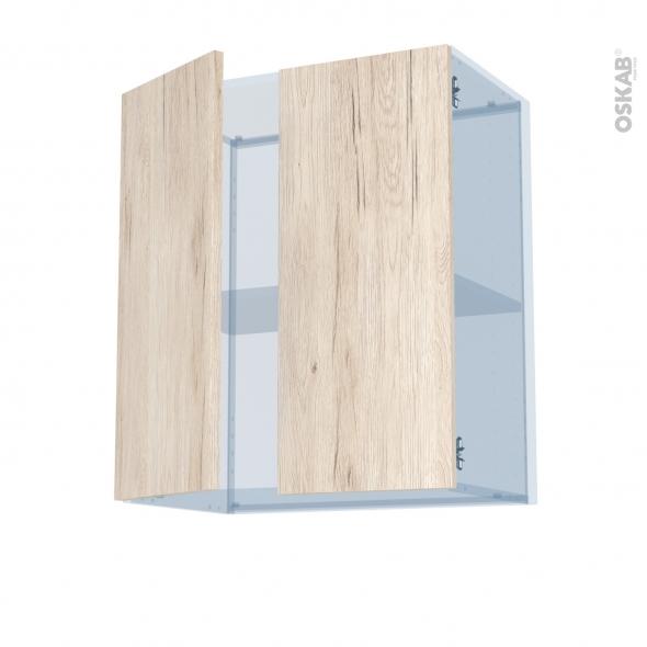 IKORO Chêne Clair - Kit Rénovation 18 - Meuble haut ouvrant H70 - 2 portes - L60xH70xP37,5