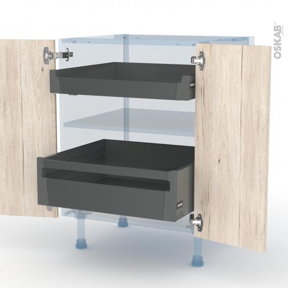 IKORO Chêne Clair - Kit Rénovation 18 - Meuble bas - 2 portes - 2 tiroirs ? l'anglaise - L60xH70xP60