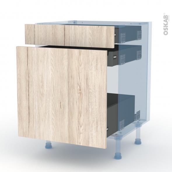 IKORO Chêne Clair - Kit Rénovation 18 - Meuble range épice - 3 tiroirs - L60xH70xP60