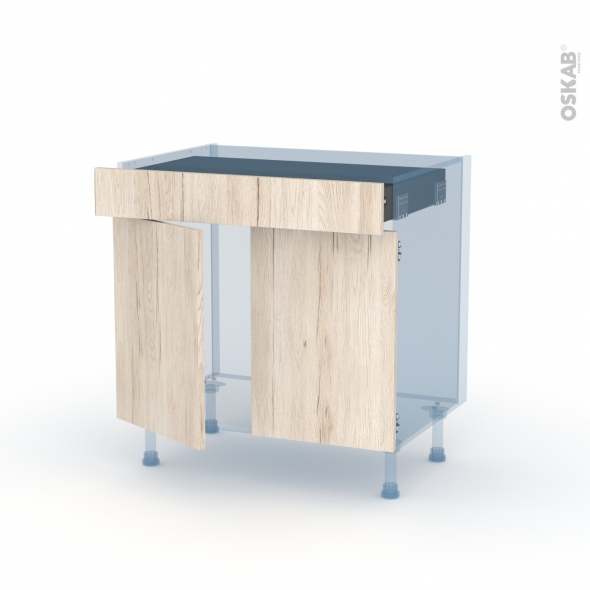 IKORO Chêne Clair - Kit Rénovation 18 - Meuble bas cuisine  - 2 portes 1 tiroir - L80xH70xP60